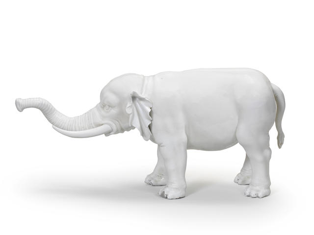 An extremely rare Vienna model of an elephant, circa 1750