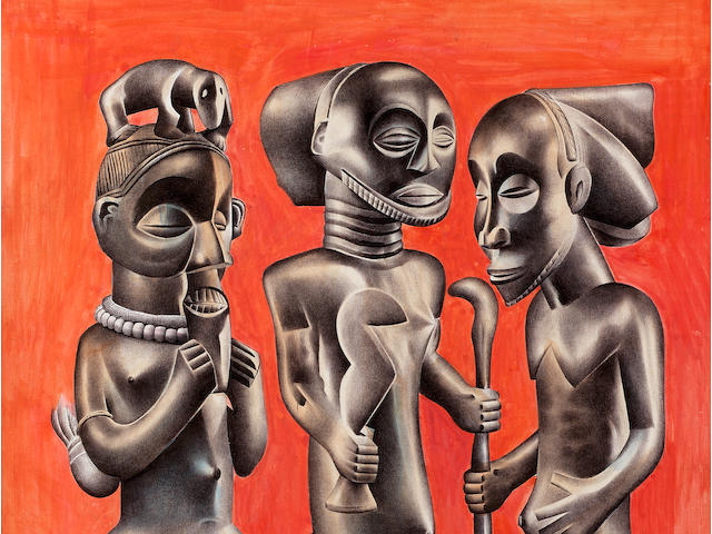 Tsham Mateng (Congolese, born 1963) A study of three wooden figures