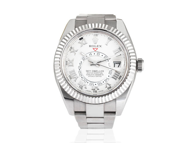 Rolex. An 18K white gold automatic calendar bracelet watch with dual time  Sky-Dweller, Ref: 326939, Circa 2017