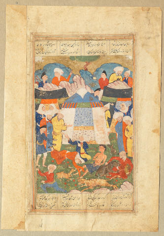 An illustrated leaf from a manuscript of Nizami's Layla va Majnun, depicting Layla reunited with Majnun at an encampment Persia, 16th Century