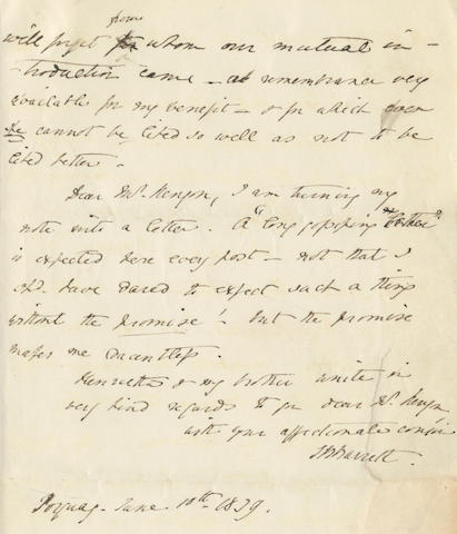 "BROWNING (ELIZABETH BARRETT) Fine autograph letter signed (""EB Barrett""), the second and concluding bifolium, to John Kenyon, Torquay, 10 June 1839"