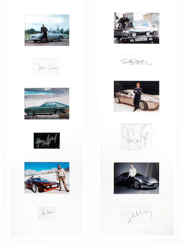 Two framed displays of six James Bond '007' images with associated signatures, featuring Aston Martins,   ((2))