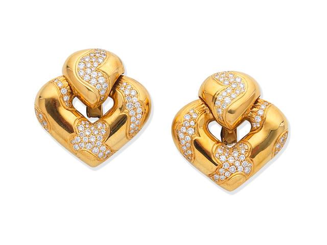 DIAMOND-SET EARCLIPS