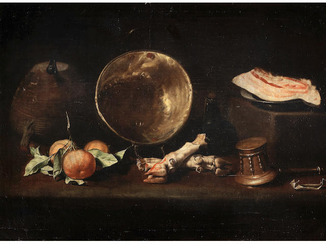 School of Seville, circa 1630-1660 Still life with a knife resting on an earthenware jug, a copper cauldron beside a tin plate with a slice of bacon on a stone step, with three oranges, two pig's trotters, a mortar and pestle and a small paper packet, probably containing spices, on a stone table