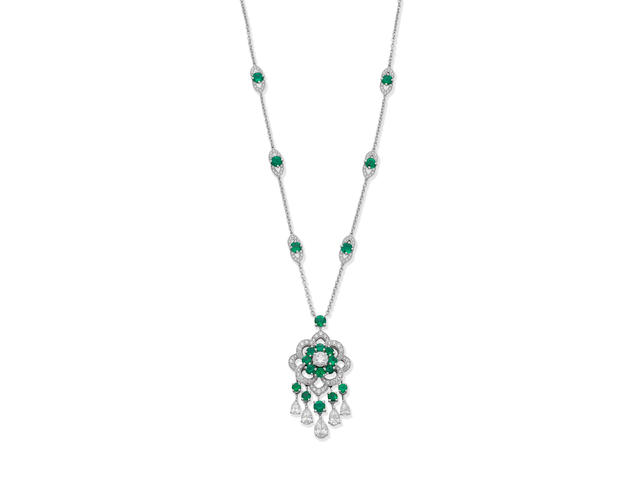 GRAFF: EMERALD AND DIAMOND PENDANT NECKLACE