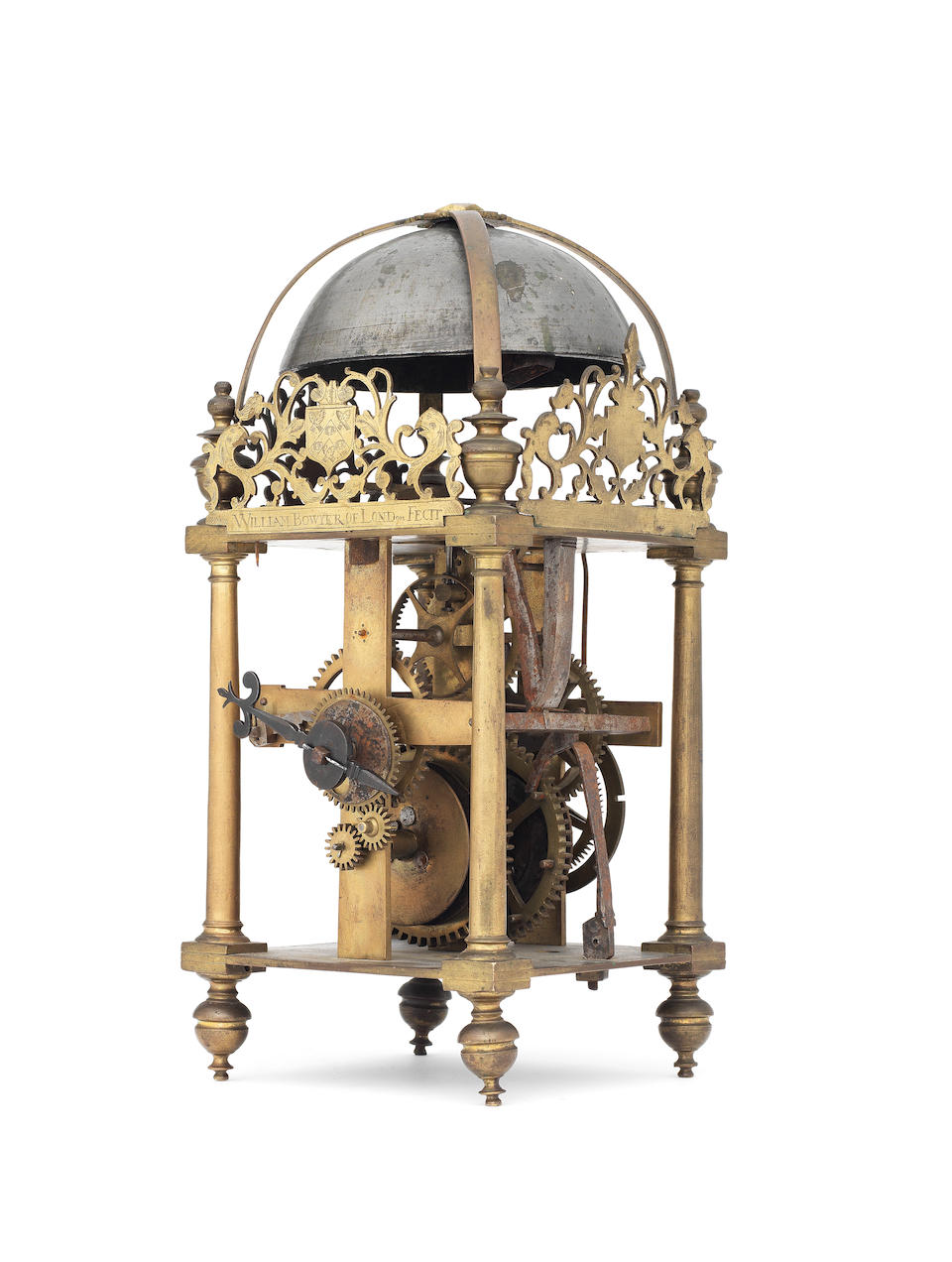 A unique and important dated 17th century lantern clock of large size, engraved with the arms of The Brewers Company William Bowyer, London, dated 1632.  The bell cast with the initials 'KS'