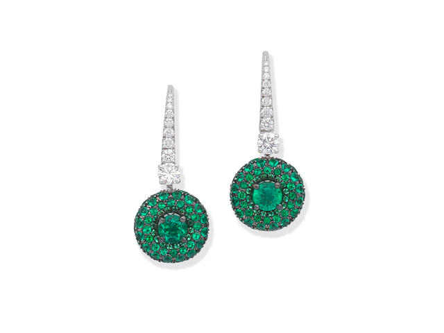 GRAFF: EMERALD AND DIAMOND 'HALO' PENDENT EARRINGS
