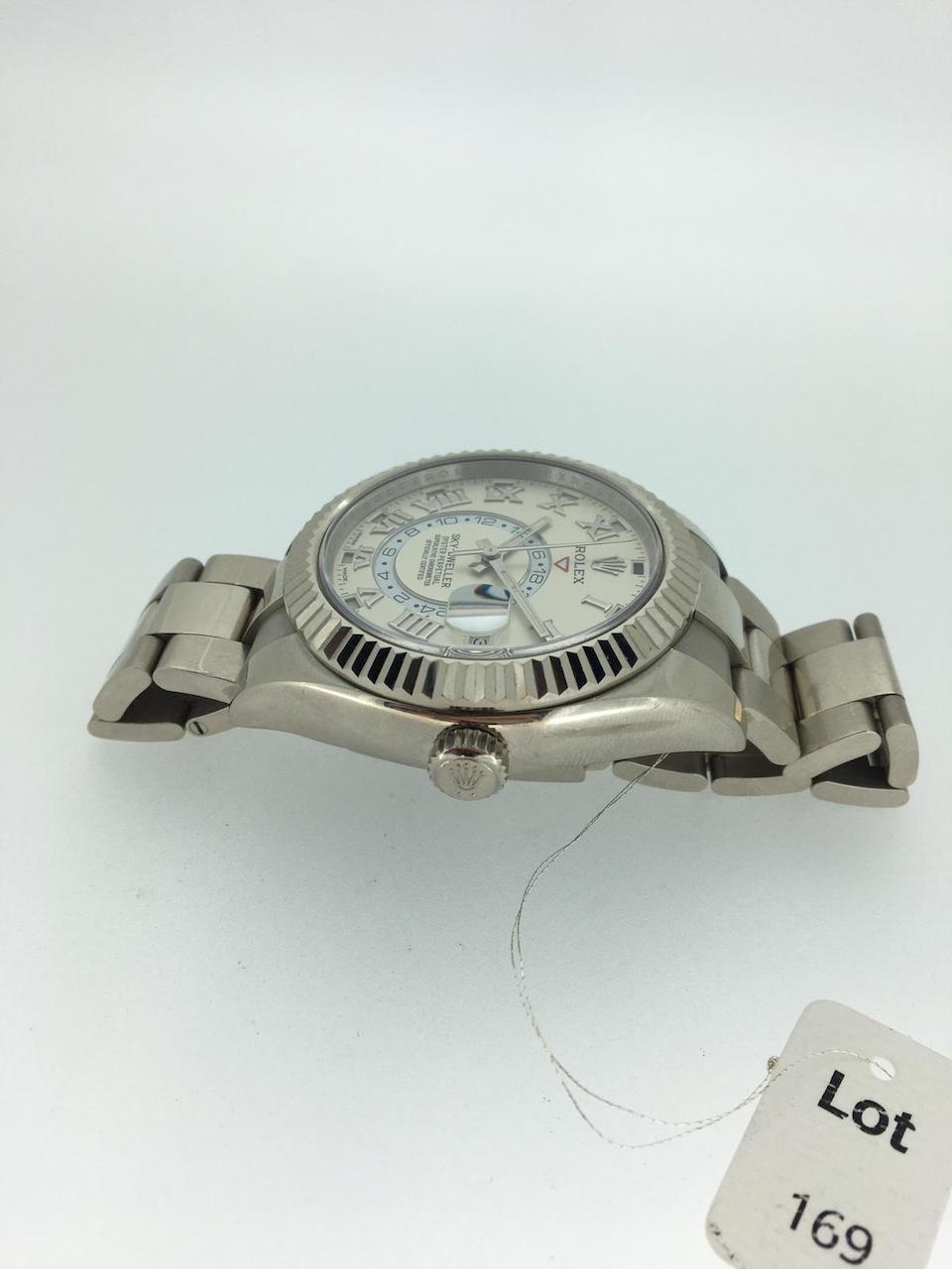 Rolex. An 18K white gold automatic calendar bracelet watch with dual time  Sky-Dweller, Ref: 326939, Circa 2017