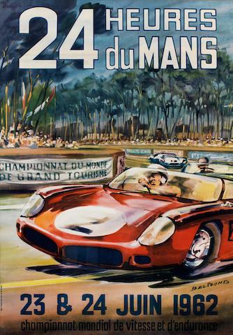 '24 Heures du Mans 23 & 24 Juin 1962' poster after Michel Beligond (French, 1927-1973),