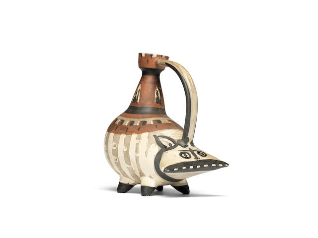Pablo Picasso (1881-1973) Tarasque marked and numbered Edition Picasso/ 25/50 (underneath)white earthenware pitcher with coloured engobe under partial brushed glazeConceived in 1954 and executed in an edition of 50350 x 300mm. (13 3/4 x 11 3/4in.)