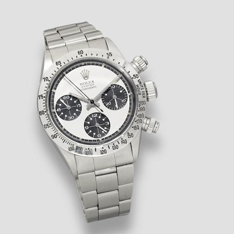 Rolex. A fine and rare stainless steel manual wind chronograph bracelet watch with Paul Newman exotic dial Cosmograph Daytona 'Paul Newman', Ref: 6262/6265, Circa 1972