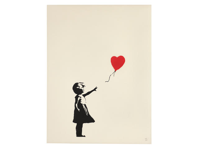 Banksy (born 1975) Girl with Balloon Screenprint in black and red, 2004, on wove paper, numbered 474/600 in pencil, published by Pictures on Walls, London, with their blindstamp, in very good condition, framed Sheet 650 x 500mm. (25 9/16 x 19 11/16in.)
