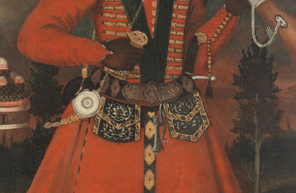 A rare Safavid oil painting of an African soldier Persia, Isfahan, circa 1680-90