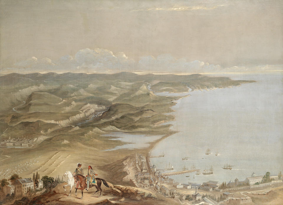 English School, 19th Century (After Thomas Packer) A set of four views depicting the key sites of the Crimean War: each approximately 96 x 132cm (37 13/16 x 51 15/16in). (4)