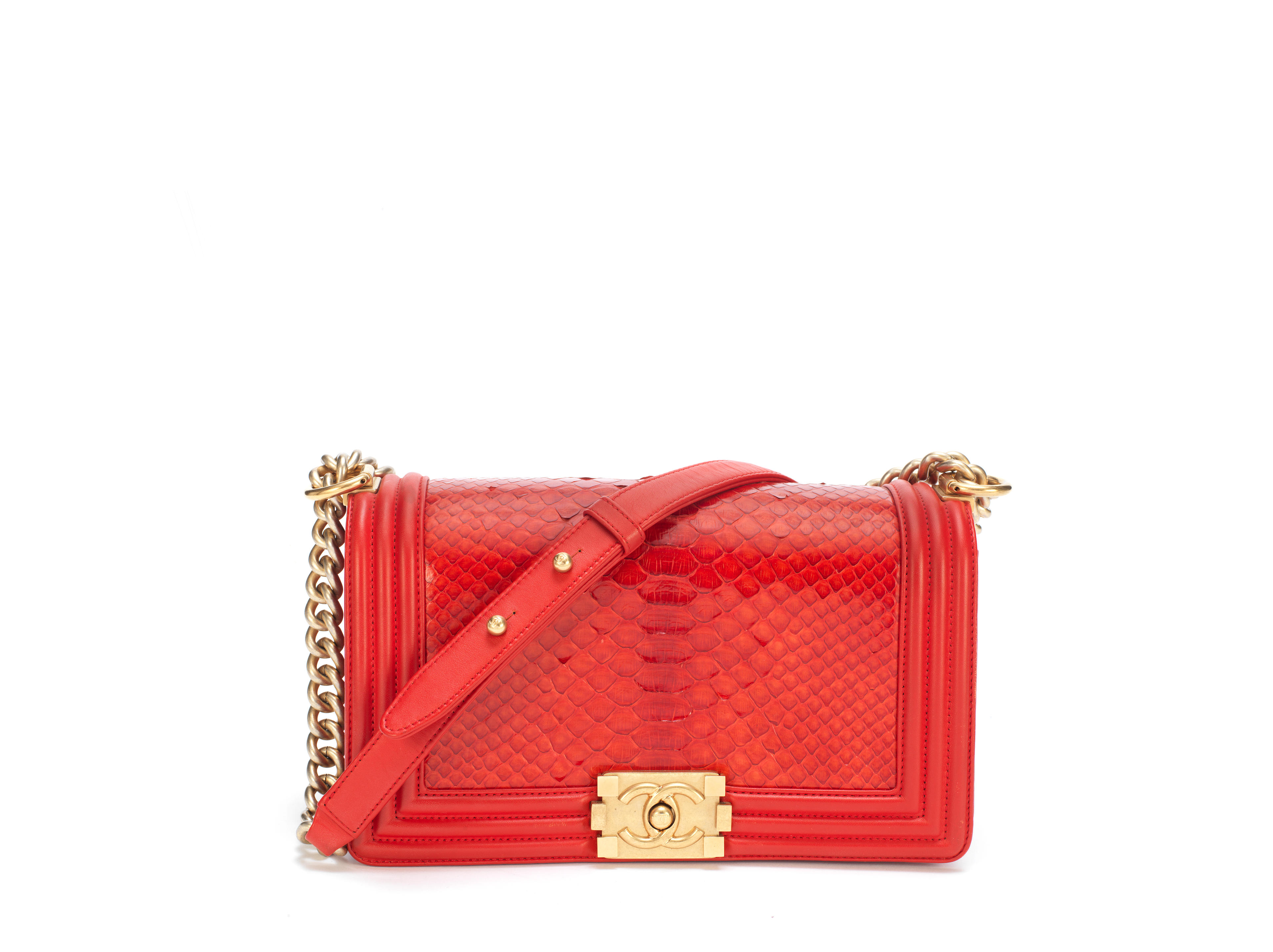 Red Python Medium Boy Bag, Chanel, c. 2014, (Includes serial sticker, authenticity card, dust bag and box)