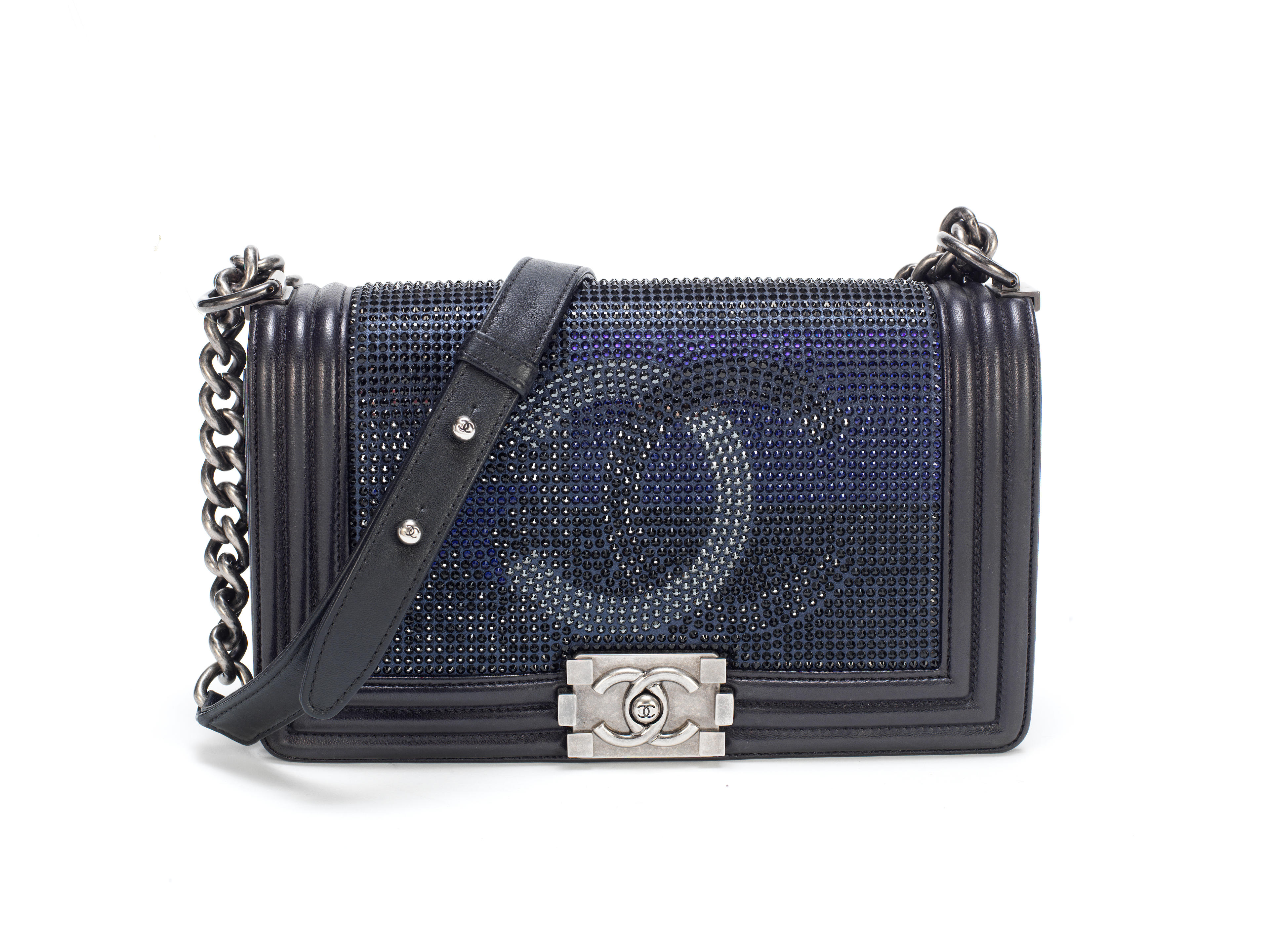 Blue Metallized Medium Boy Bag, Chanel, Pre-Fall 2014 Dallas Collection, (Includes serial sticker, authenticity card, dust bag and box)