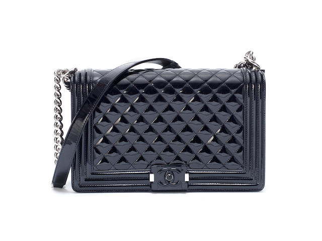 Black Patent Medium Boy Bag, Chanel, Cruise 2015 Dubai Collection, (Includes serial sticker, authenticity card, dust bag and box)
