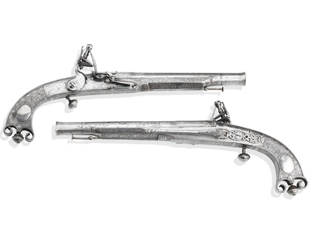 A Rare Pair Of Scottish All-Metal Flintlock Belt Pistols Gifted By William Gorden, 18th Earl Of Sutherland To Capt. Jas. Sutherland In 1763