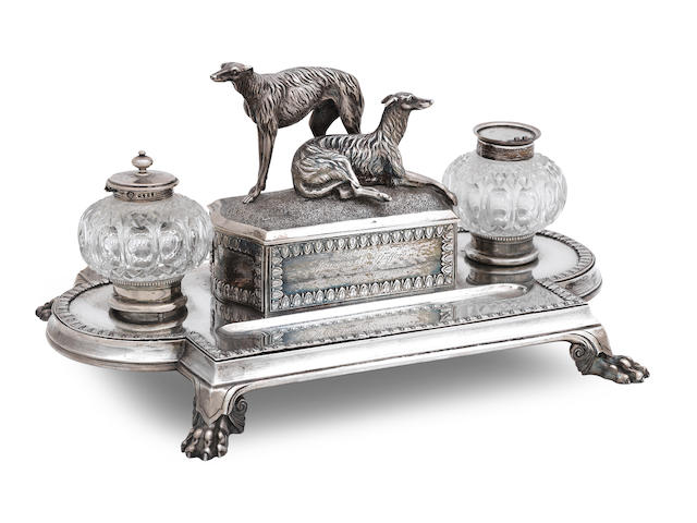 A Victorian shaped rectangular silver deskstand by George Angell, London 1876