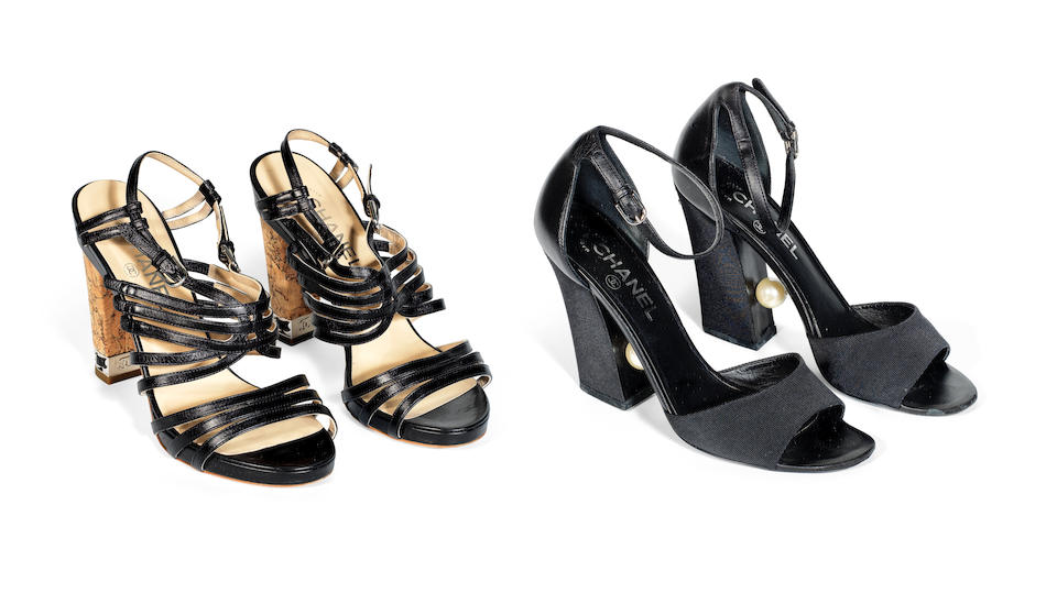 Two Pairs of Black Heels, Chanel,  (Includes dust bags, and copy of original receipt)