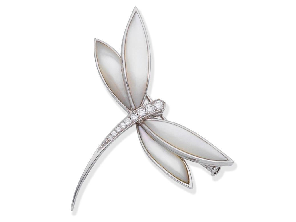 VAN CLEEF & ARPELS: DIAMOND AND MOTHER-OF-PEARL DRAGONFLY BROOCH