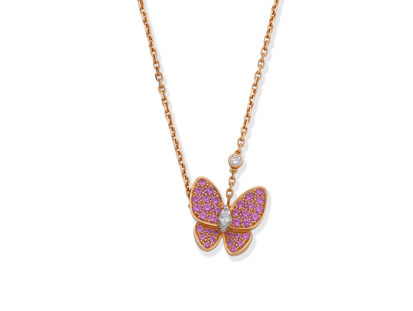 VAN CLEEF & ARPELS: PINK SAPPHIRE AND DIAMOND 'TWO BUTTERFLY' PENDANT NECKLACE