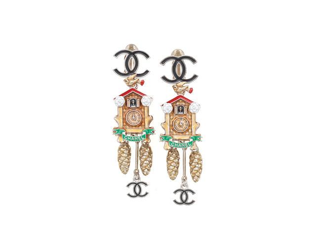 Enamel Cuckoo Clock Clip Earrings, Chanel Metiers d'Art 2015 Salzburg Collection,