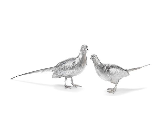 A life-size pair of silver pheasants Asprey, London 1962  (2)