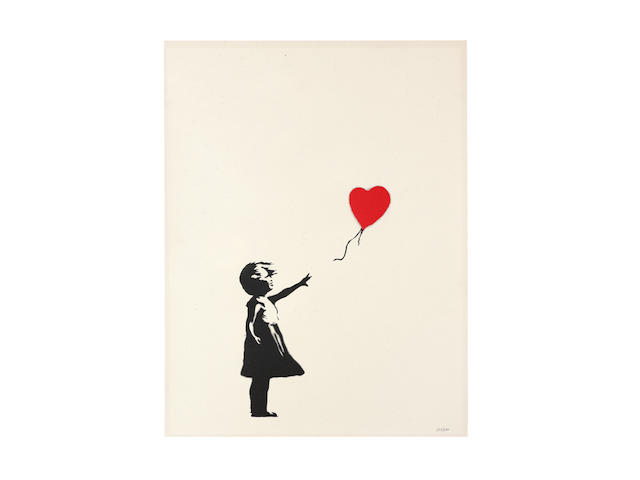 Banksy (British, born 1975) Girl with Balloon, 2004 Screenprint in black and red, on wove, numbered '597/600' in pencil, published by Pictures on Walls, London, the full sheet657 x 499mm (25 7/8 x 19 5/8in)(SH)