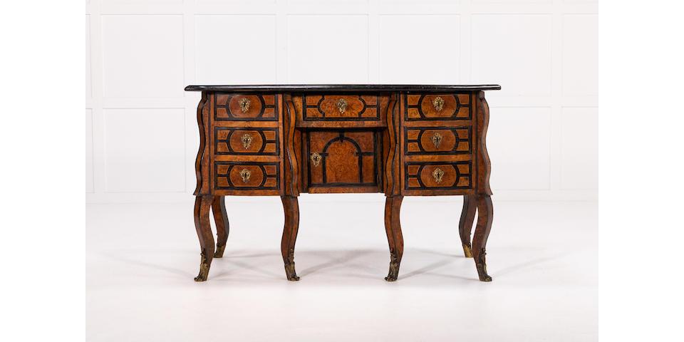 A French Burr Wood and Ebonised Bureau Mazarin 18th Century