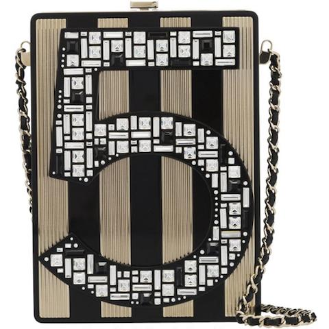 Black and Gold No.5 Plexiglass Miniaudiere, Chanel, Limited Edition Autumn 2015, (Includes serial sticker, authenticity card, dust bag and box)