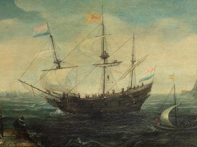 Cornelis Verbeeck (circa 1590-circa 1631 Amsterdam) Shipping at anchor in a bay