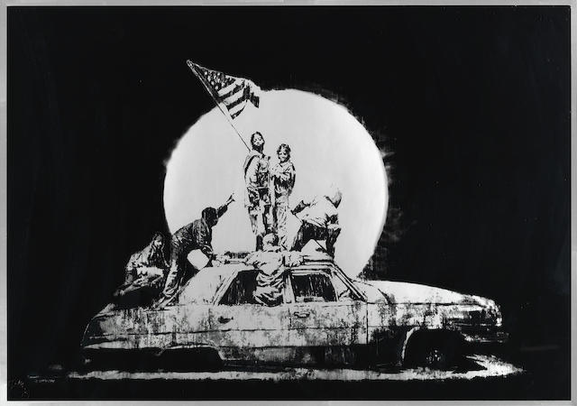 Banksy (British, born 1975) Flag (Silver), 2006 Screenprint in colours, on chromolux paper, numbered '578/1000' in black felt-tip pen verso, published by Pictures on Walls, London, with their blindstamp, the full sheet498 x 700mm (19 5/8 x 27 1/2in)(SH)