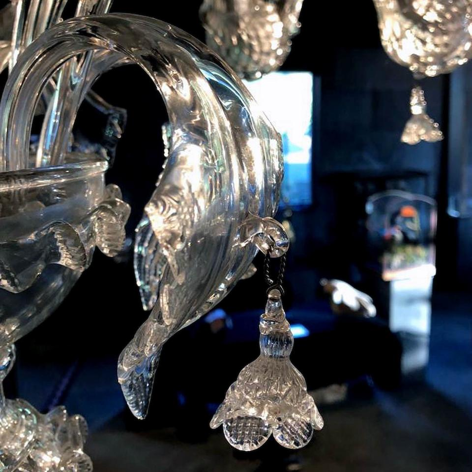 A large pair of Venetian De Majo twelve light Glass chandeliers Designed by Francesco Dei Rossi  (2)