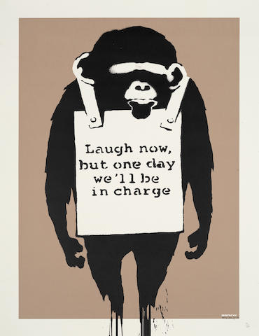 Banksy (British, born 1975) Laugh Now, 2004 Screenprint in colours, on wove, signed and dated in black ink, numbered '86/150' in pencil, published by Pictures on Walls, London, with their blindstamp, the full sheet printed to the edges, unframed693 x 497mm (27 1/4 x 19 5/8in)(SH)