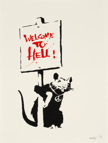 Banksy (British, born 1975) Welcome to Hell, 2004 Screenprint in colours, on wove, signed, dated and numbered '25/75' in pencil, published by Pictures on Walls, London, with their blindstamp, the full sheet, unframed500 x 352mm (19 5/8 x 13 7/8in)(SH)