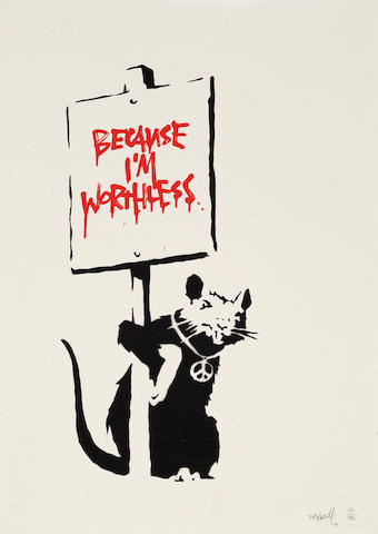 Banksy (British, born 1975) Because I'm Worthless, 2004 Screenprint in colours, on wove, signed, dated and numbered '17/75' in pencil, published by Pictures on Walls, London, with their blindstamp, the full sheet, unframed500 x 353mm (19 5/8 x 13 7/8in)(SH)