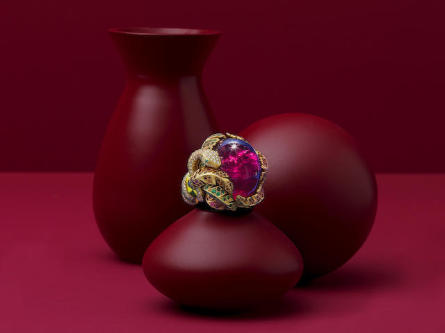 VICTOIRE DE CASTELLANE FOR DIOR: RUBELLITE, TOURMALINE, DIAMOND AND GEM-SET RING