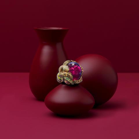 VICTOIRE DE CASTELLANE FOR DIOR: RUBELLITE, TOURMALINE, DIAMOND AND GEM-SET RING