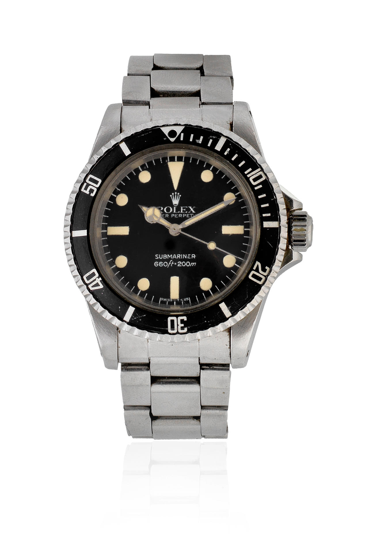 Rolex. A stainless steel automatic bracelet watch with maxi dial