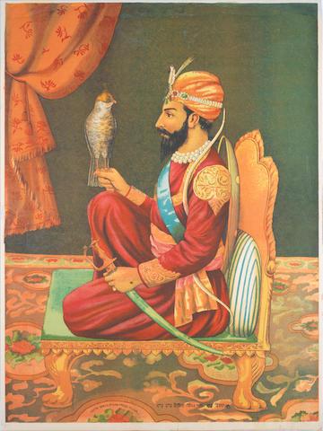 Guru Gobind Singh seated with a falcon Chitra Shala Steam Press, Poona, circa 1900