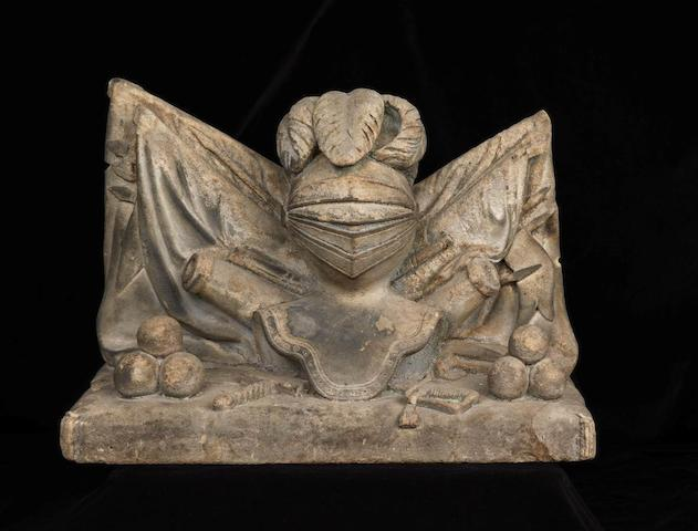 A carved sandstone Military trophy German, 18th century