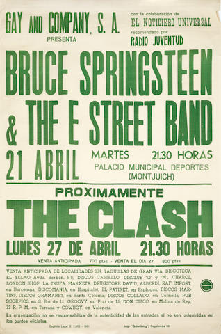 The Clash / Bruce Springsteen: A Spanish tour poster, 21st & 27th April 1981,