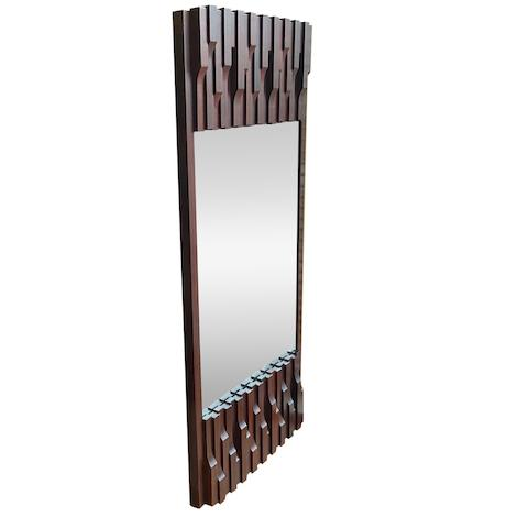 A large Vertical Brutalist Walnut Mirror by Luciano Frigerio Italy, 1970s
