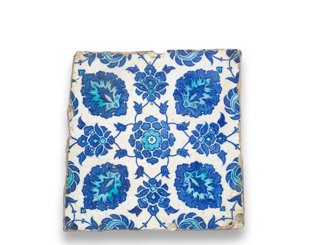 An Iznik pottery tile Turkey, 16th Century