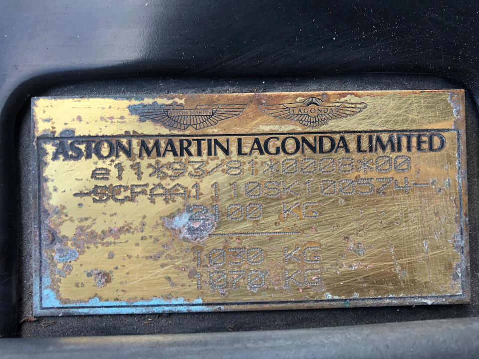1996 Aston Martin DB7  Chassis no. SCFAA1110SK100574