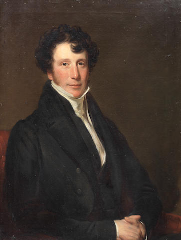 Circle of Thomas Phillips (Dudley 1770-1845 London) Portrait of a gentleman, said to be the Reverend Robert Harkness (1798-1839), half-length, in a black coat