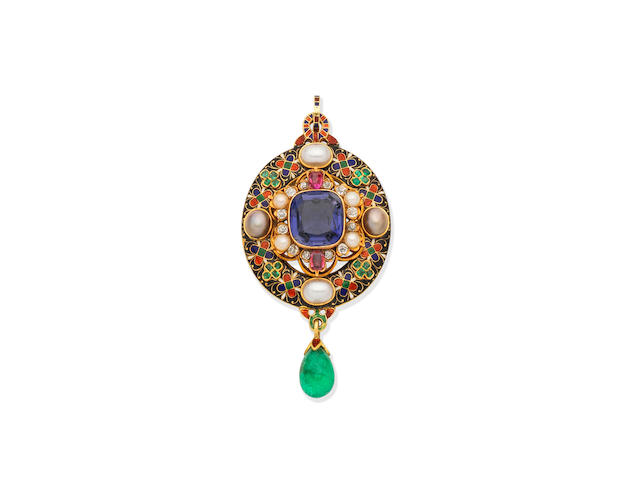 A POLYCHROME ENAMEL AND MULTI GEM-SET HOLBEINESQUE BROOCH/PENDANT
