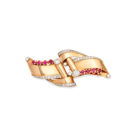 RUBY AND DIAMOND DOUBLE-CLIP BROOCH,