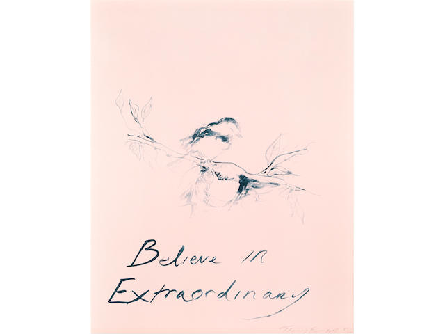 Tracey Emin (British, born 1963) Believe in Extraordinary Lithograph printed in colours, 2015, on Somerset wove, signed, dated and numbered XVII/XXX in pencil, a proof aside from the numbered edition of 300, printed and published by Counter Editions, London, on the occasion of Team GB's participation at the first European Games in Baku, Azerbaijan, the full sheet printed to the edges, 760 X 600mm (29 7/8 x 23 5/8in)(SH)